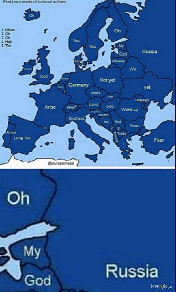 Pierwsze słowa europejskich hymnów. OMG! Russia!