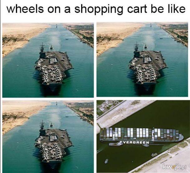 Kółeczka w wózku sklepowym.