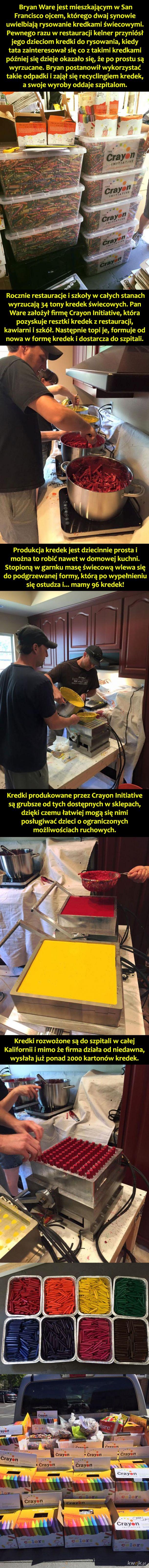 Przedsiębiorczy tata, który postanowił z odpadów produkować kredki dla dzieci w szpitalach