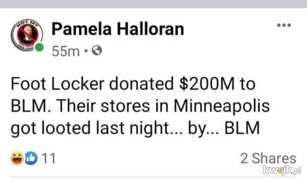 Podziękowania dla BLM za splądrowanie im sklepów