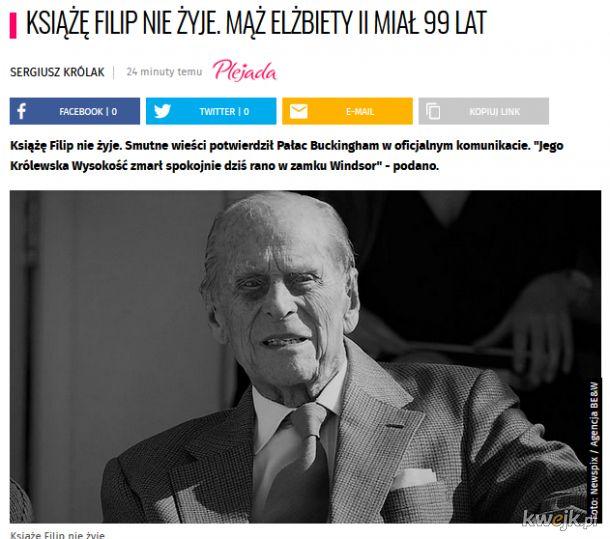 Książę FIlip nie żyje. Mąż Elżbiety II miał 99 lat