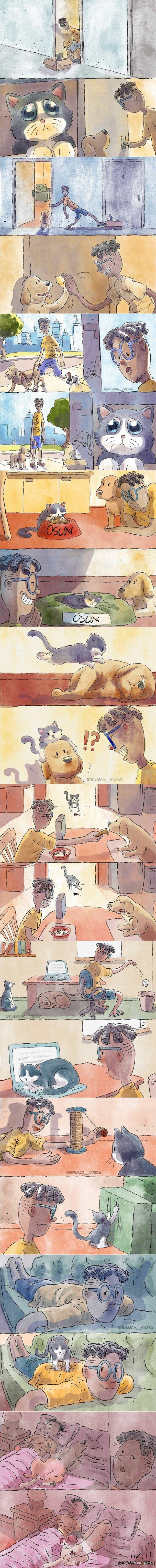 Artysta dzieli się swoją historią adopcji kotka
