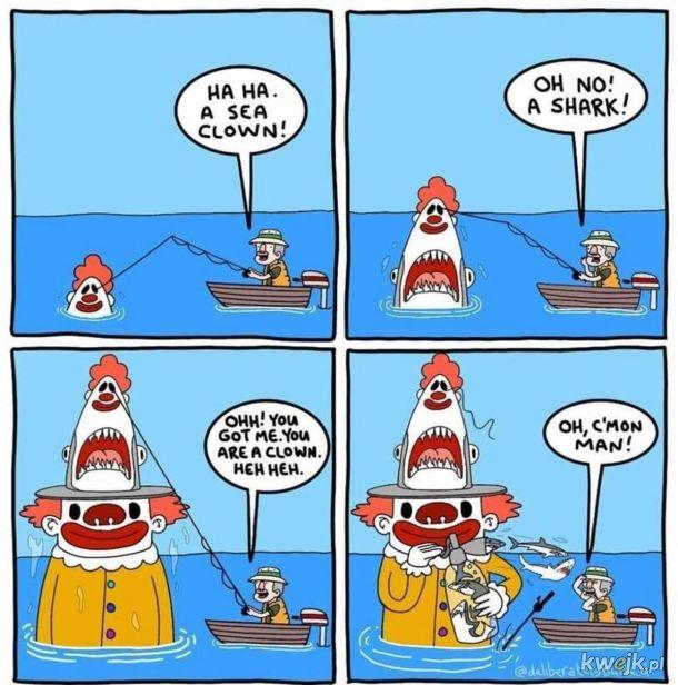 Oceaniczny klaun w czapce rekina strzelający rekinami z butli. Logiczne.
