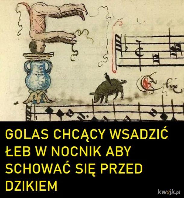 """Gędźba - to po średniowiecznemu """"muzyka"""". Kiedyś nie było kluczy wiolinowych, ale za to bardzo fantazyjne ikony"""