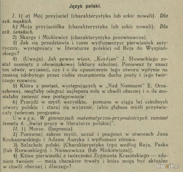 Tematy maturalne z 1929 roku