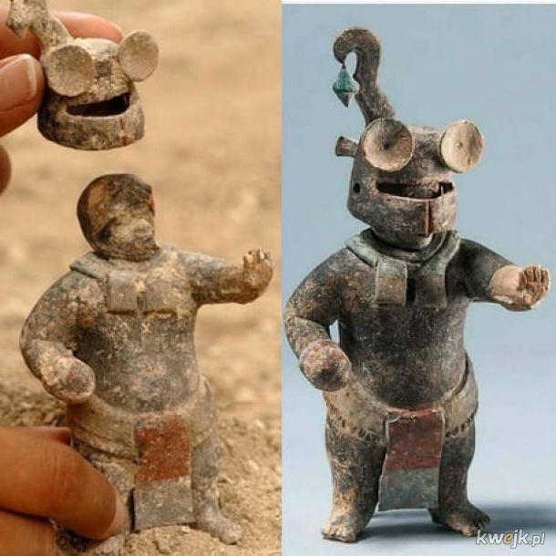 Aztecka figurka z ruchomym hełmem, mająca 1500 lat.