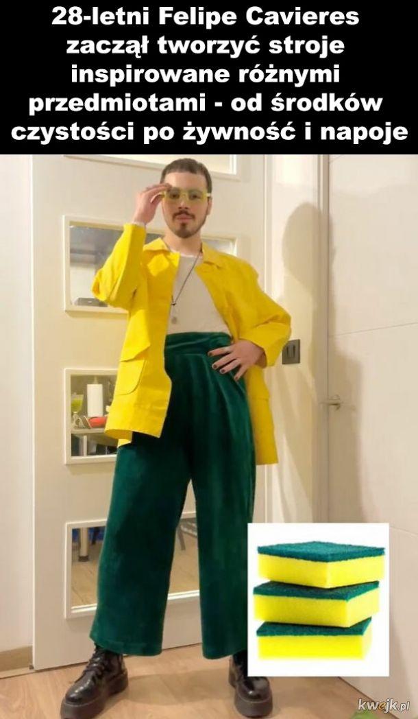 Ziomek, który ubiera się pod kolor domowych przedmiotów