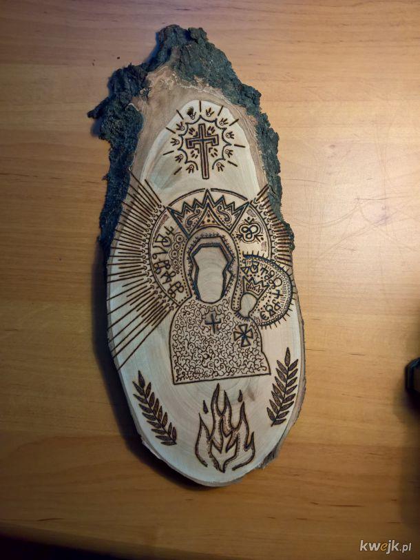 Bohomaz w drewnie - pierwszy tego rodzaju. Przed olejowaniem.