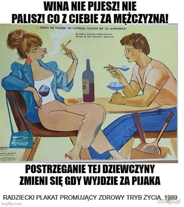 Rosyjski plakat promujący zdrowy tryb życia /1989