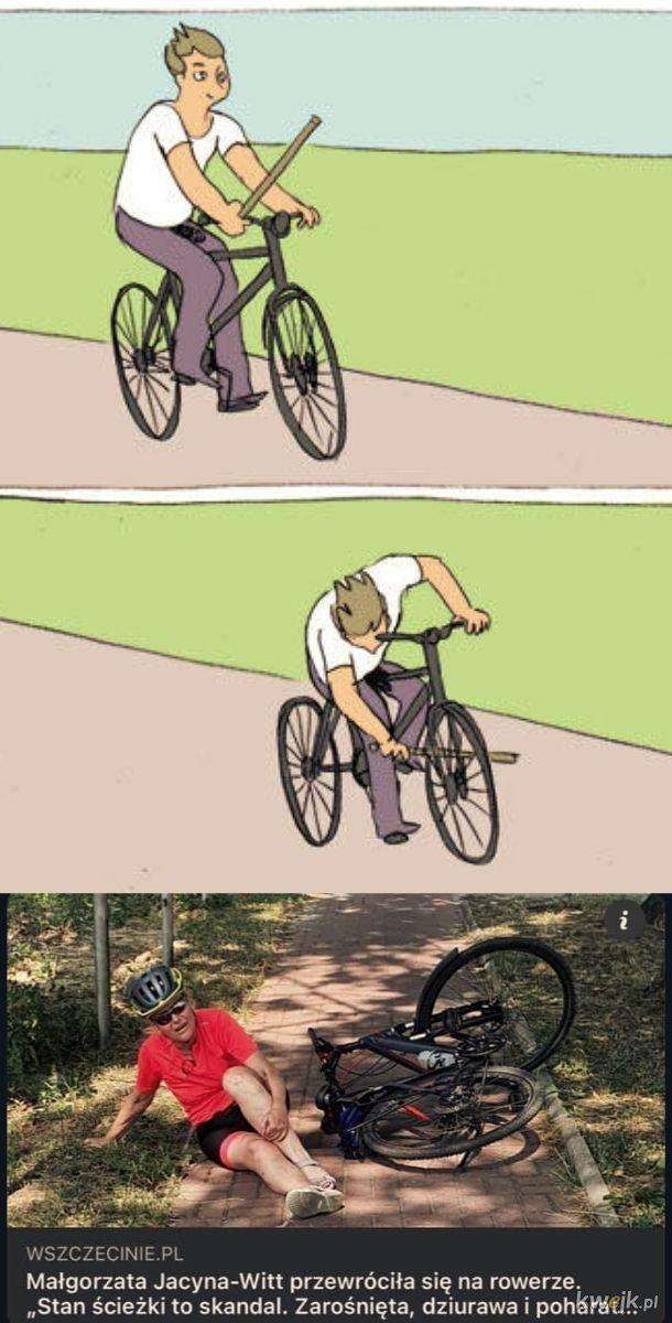 Wywróciła się na rowerku