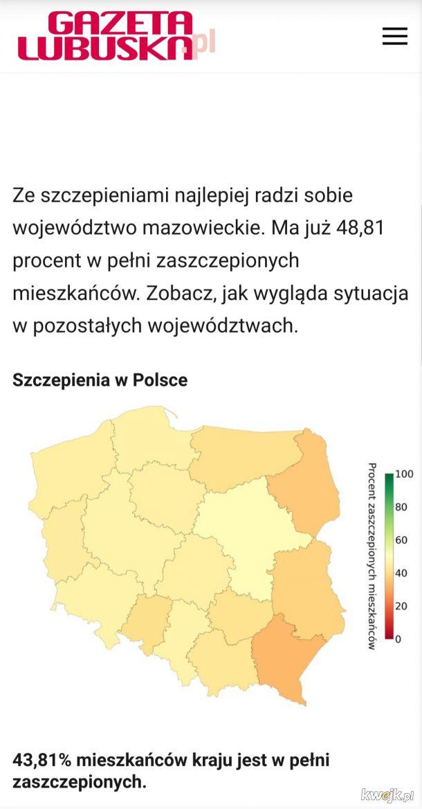 Mniej niz polowa w pelni zaszczepionych w Polsce