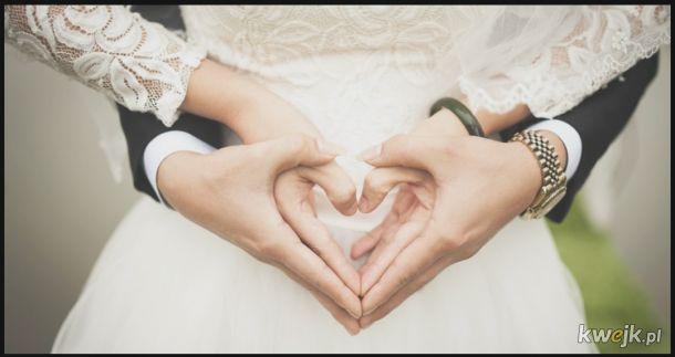 Piękne zdjęcie ślubne, dopóki nie zwrócisz uwagi na kciuki:P