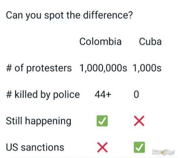Hurr durr na Kubje protestuj0m b0 k0muniS!! Durrr!! Kolumbia?? Ciii nie mowmy o tym