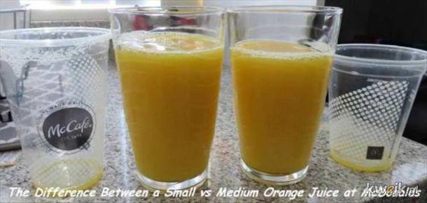 Różnica między małym i średnim MacDolan sokiem.