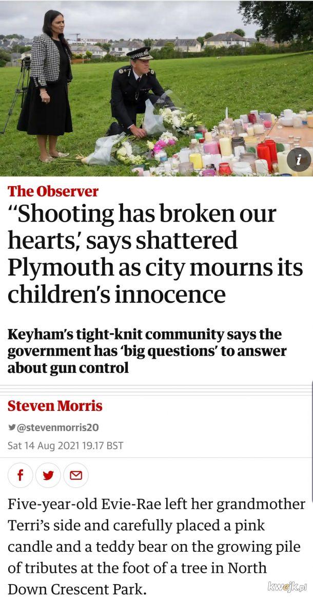 Angielski incel zastrzelil w Plymouth szesc osob, w tym 3-letnie dziecko