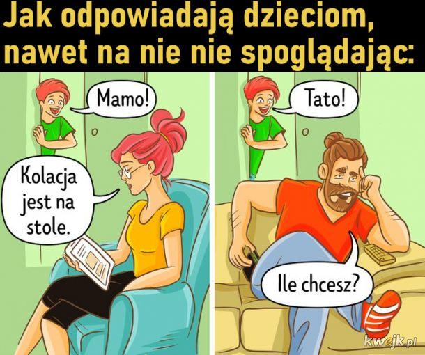Porcja komiksów pokazujących różnice w metodach wychowawczych matek i ojców