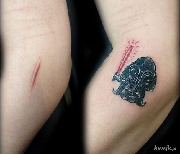 Znamiona i blizny idealnie wpisane w tatuaże