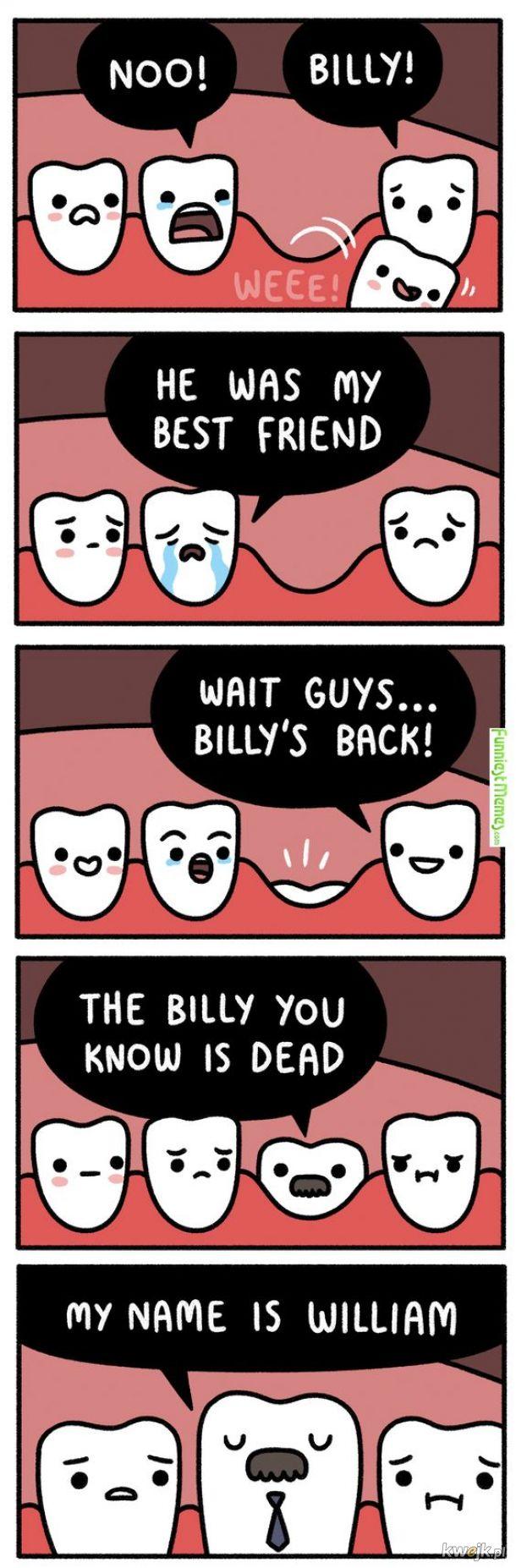 zęby mleczne odchodzą a na ich miejscu pojawiają się stałe