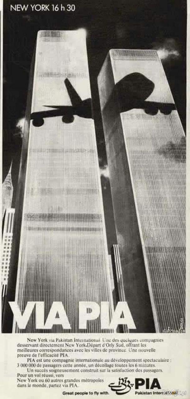 Połączenia lotnicze do Nowego Jorku reklamowane w 1979 roku przez pakiństańskie linie lotnicze...