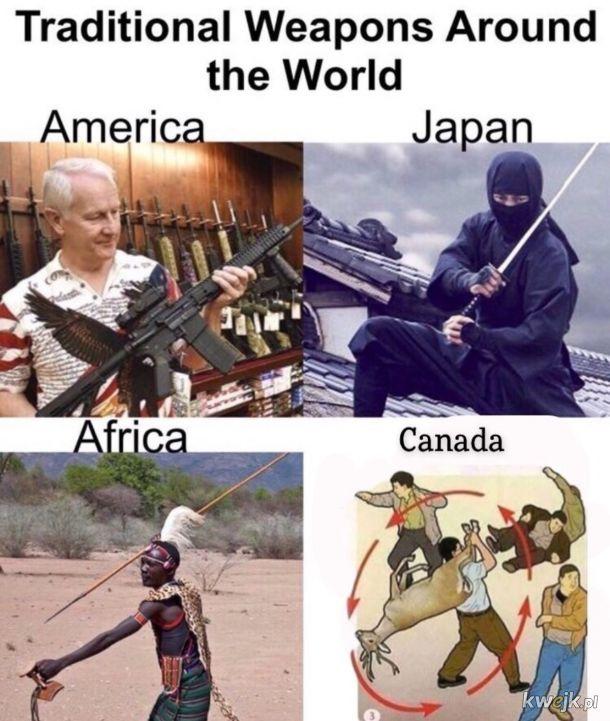 Broń tradycyjna z różnych regionów świata.