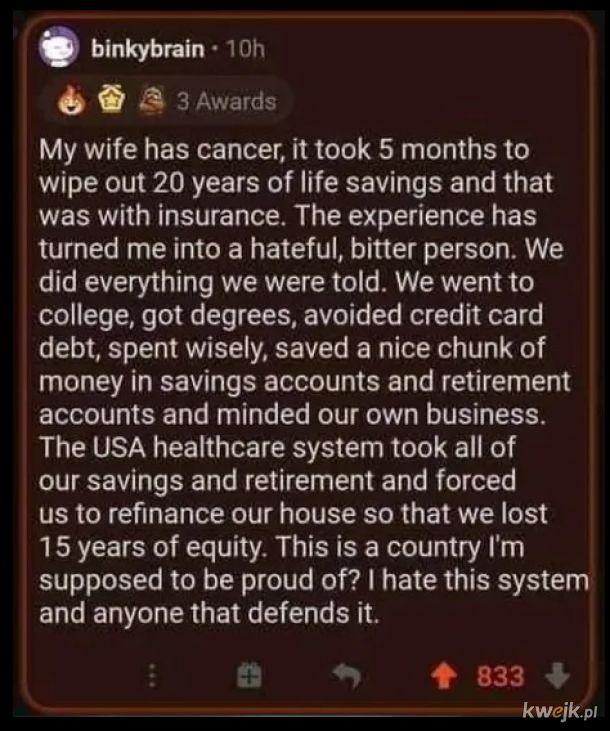 USA - korporacyjny raj z prywatną służbą zdrowia.