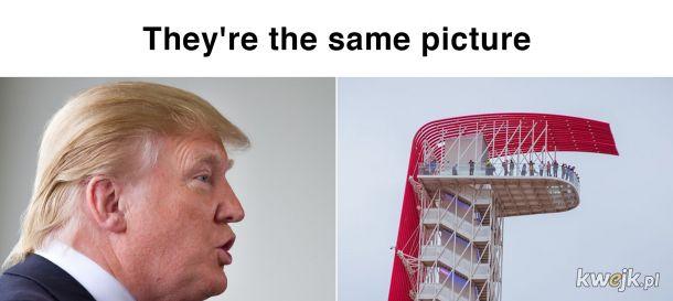 Wieża widokowa z toru F1 w USA, wygląda jak fryzura Trumpa