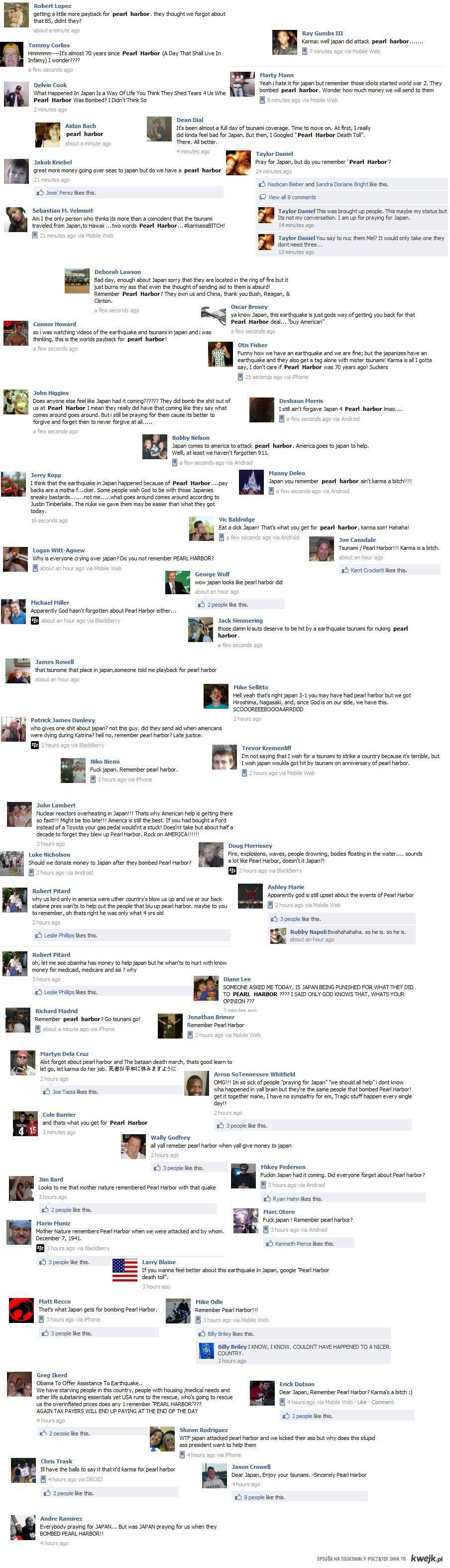 Reakcja Amerykanów na tragedię w Japonii