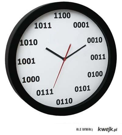 zegar z godzinami zapisanymi w systemie binarnym
