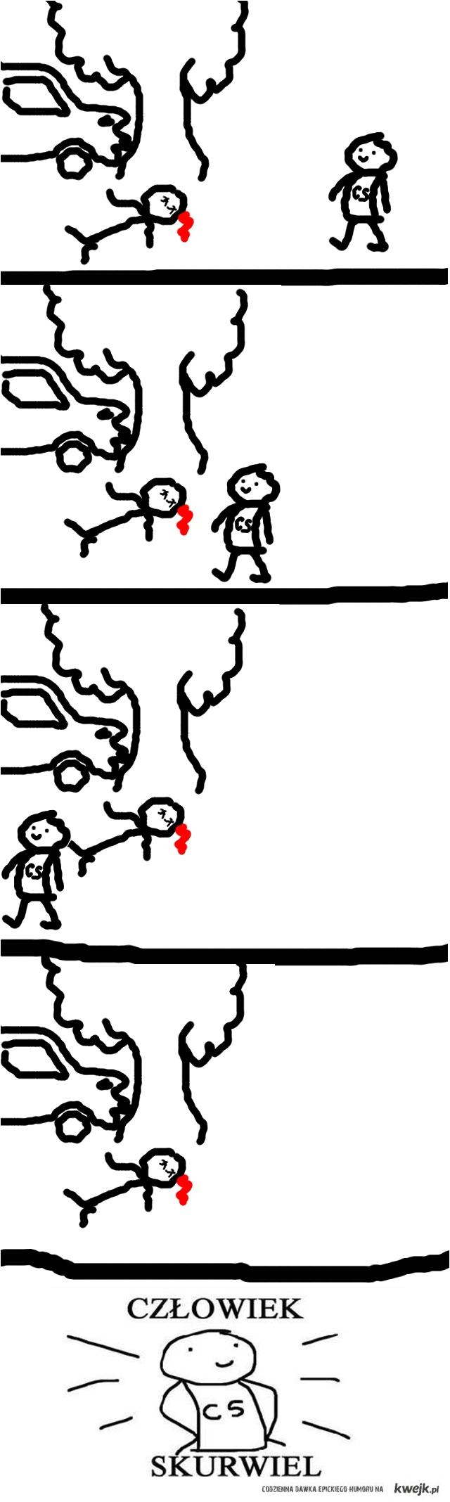Człowiek Skurwiel - wypadek