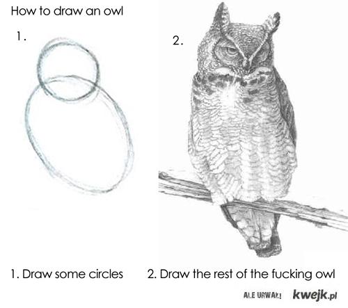 jak narysowac sowe