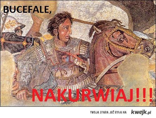 Aleksander i jego koń Bucefał.