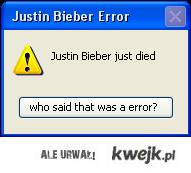 Justin Bieber Error