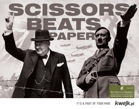 Nożyczki pokonują papier