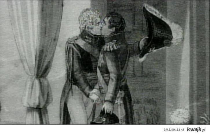 Po bitwie o Austerlitz, orginalny szkic z epoki. Car Aleksander i Napoleon