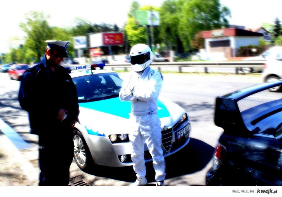 Aresztowanie słynnego kierowcy rajdowego Stiga, przez Polską policje.