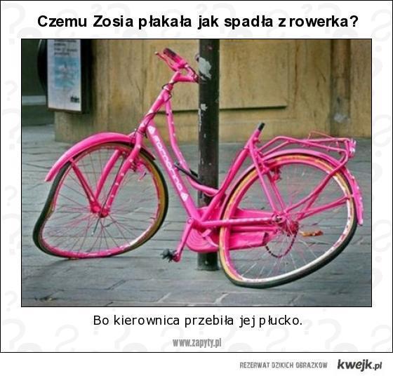 Czemu Zosia płakała jak spadła z rowerka?