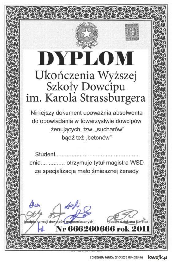 Dyplom ukończenia szkoły im. Karola Strasburgera