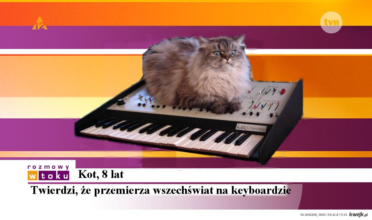 Kot przemierzający wszechświat na keyboardzie