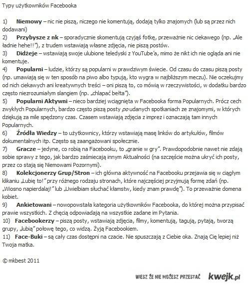 Typy użytkowników Facebooka