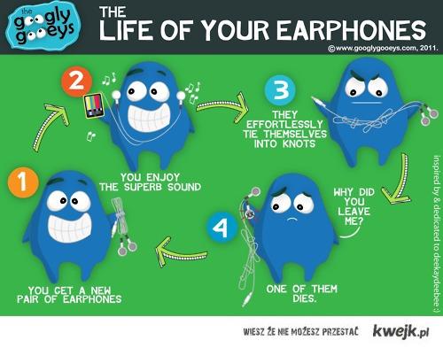 życie słuchawek