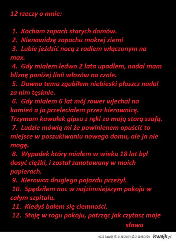 12 rzeczy o mnie