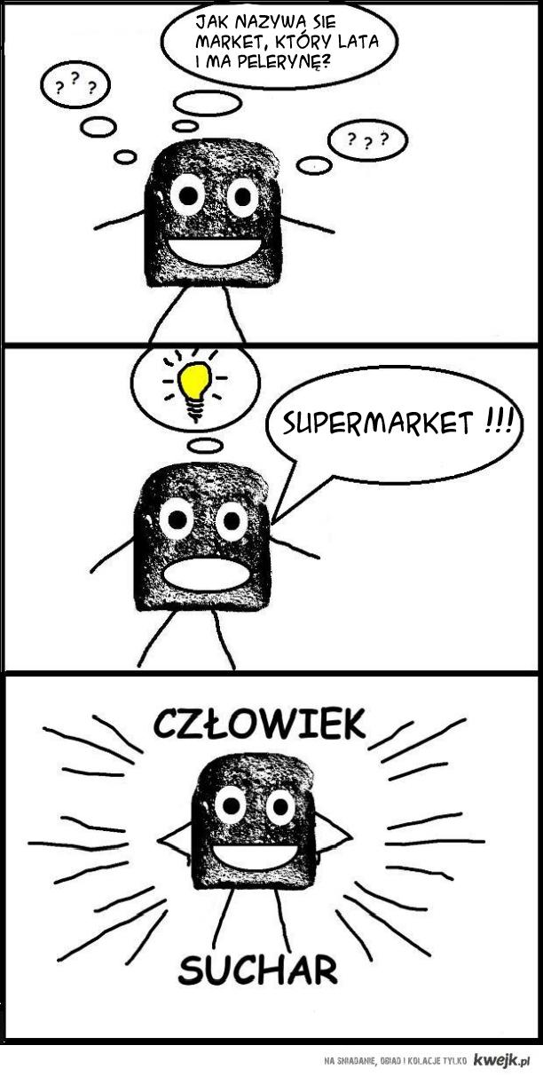 Człowiek suchar i supermarket