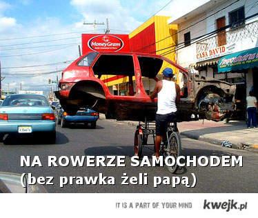 Bez prawka rowerem samochodem