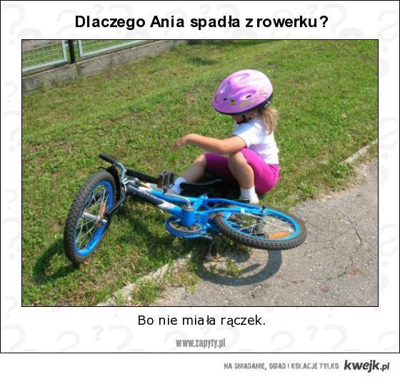 dlaczego Ania spadła z rowerku