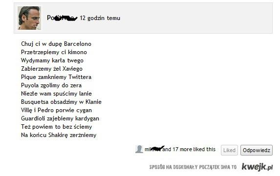 Wierszyk anty-fanów Barcelony
